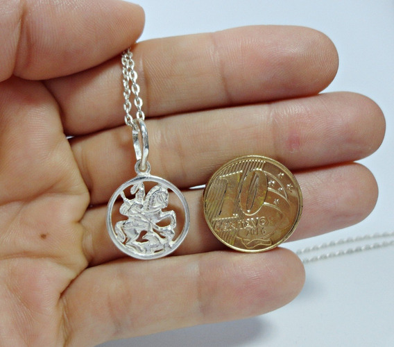 Cordão Cadeado 50cm X 1,2mm C/ Pingente São Jorge Prata 925