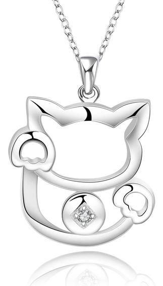 Hermoso Collar Forma De Gato Bañado En Plata Con Zirconia