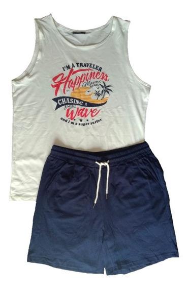 Conjunto Tropical Short Tank Top Hombre Palmeras Tropical Playa Miami