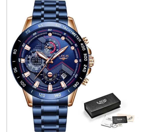 Relógio Masculino De Pulso Lige 2020 Azul Original