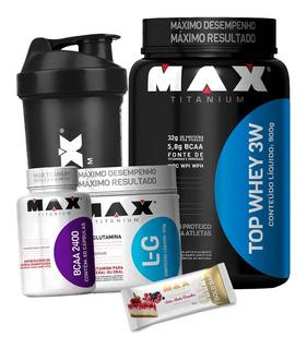 Top Whey 3w + Bcaa + Glutamina - Max Titanium + Coq