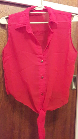 Camisa /blusa De Gasa Roja, Sin Mangas