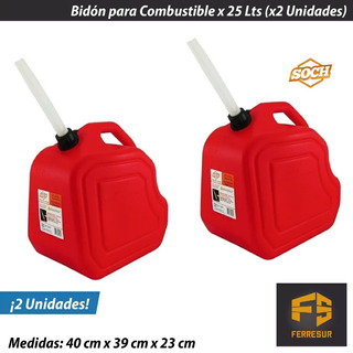 Bidon Combustible Gasolina Homologado 25 Litros Soch X 2 Uni