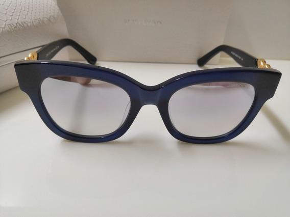 Óculos Sol Jimmy Choo Maggie Bhzjd Azul Acetato Espelhado