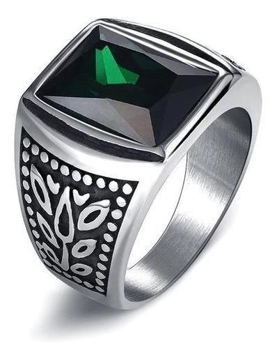 Anel Vintage Pedra Verde-esmeralda Aço 316l