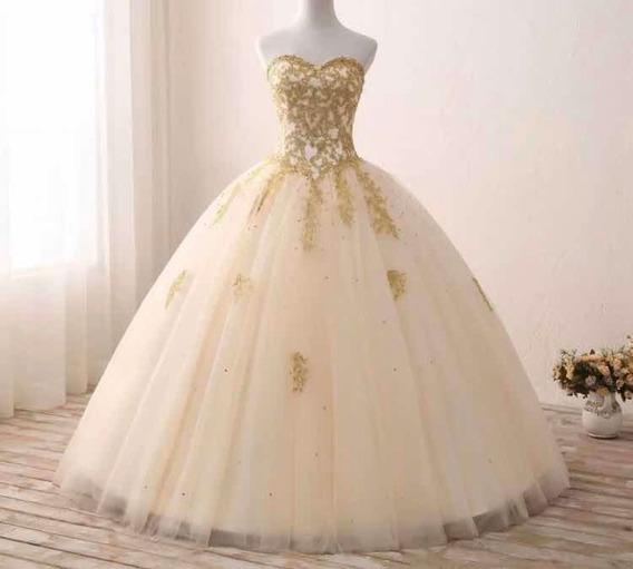 Vestido Quinceañera Oro Envio Gratis 15 Años