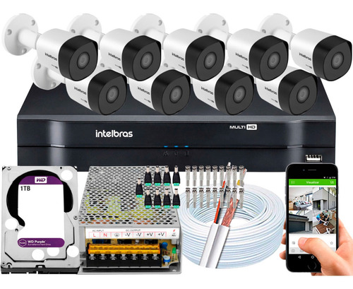Kit 9 Cameras Segurança 3230b Intelbras 16 Canais 1tb Purple