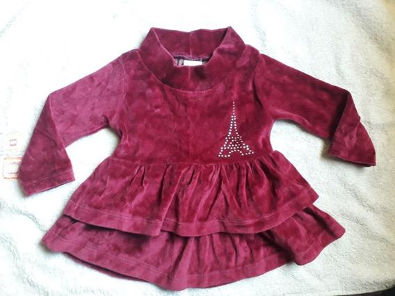 Vestido Infantil Aveludado Vinho