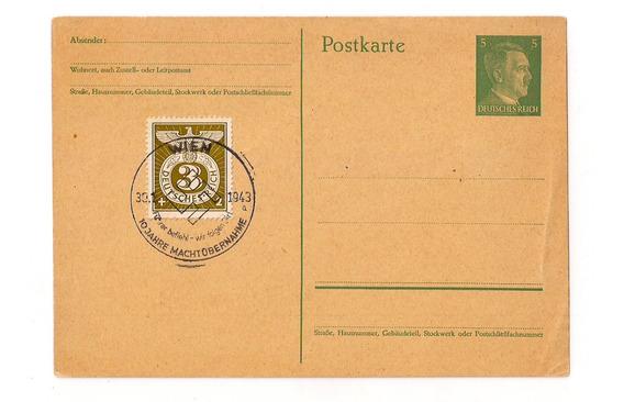 Alemania 3° Reich Tarjeta Matasello Especial Hitler 1943