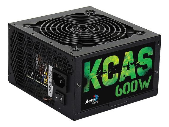 Fonte Atx 600w Kcas Para Computador Aerocool Sem Cabo Preto