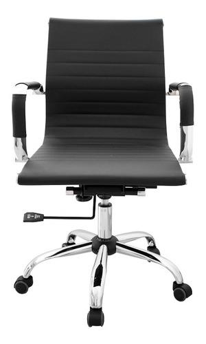 Silla de escritorio Para Tu Casa Aluminium Eames Bajo Pc ergonómica  negra con tapizado de cuero sintético