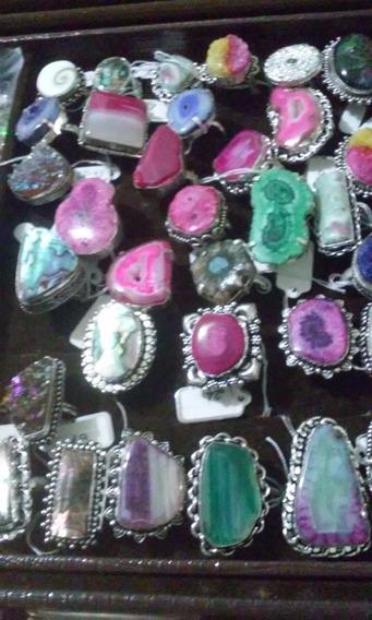 Aneis Pedras Diversas-sobreposição Prata 925