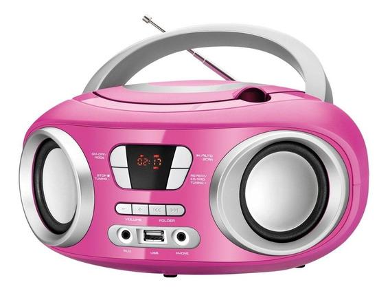 Rádio Portátil Mondial Cd Player Usb Fm 6w Bx-15 Rosa Bivolt
