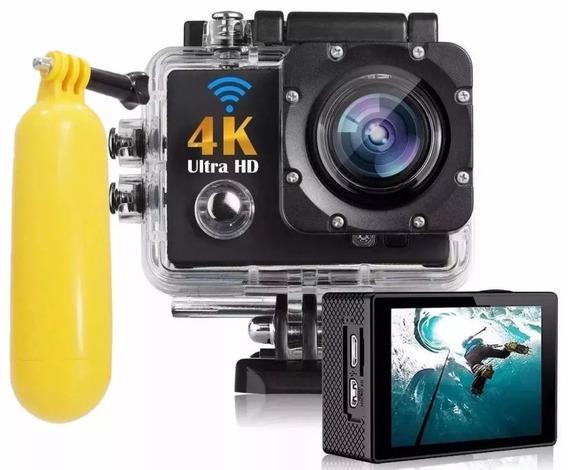 Kit 1 Câmera Filmadora 4k Action + 1 Boia Flutuante Go Pro