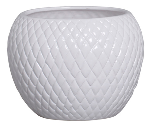 Vaso Para Plantas Jardim Cerâmica Branco G 18,7x24,5 Cm