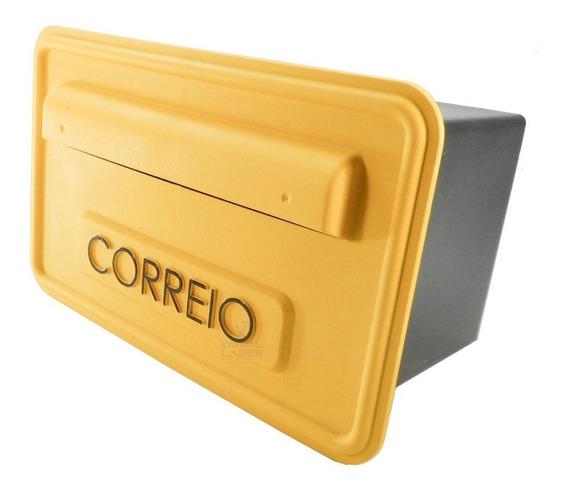 Caixa Correio Plástica Residencial Muro Grade Amarelo Sigma