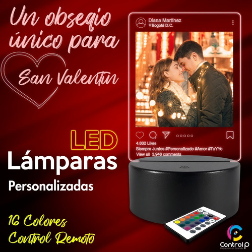 Lámpara Led 16 Colores Personalizada, Regalo, Obsequio