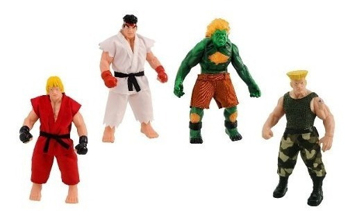 Bonecos Street Fighter Em Vinil 30cm Ryu/ken/guile/blanka