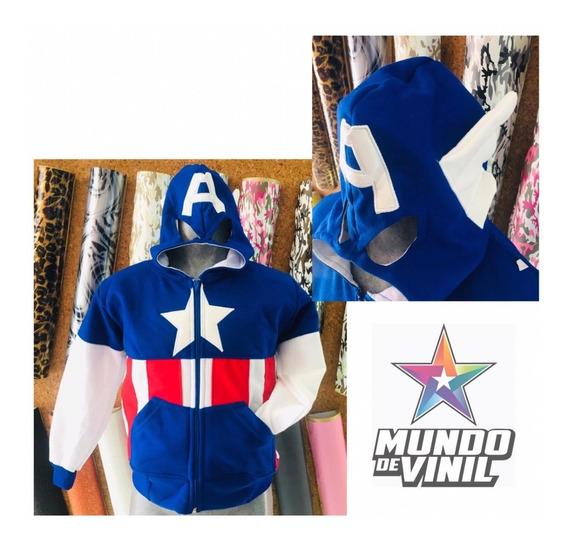 Chamarra Niño Superheroe Cap. America Gorramascara T2 - T12