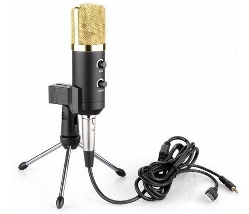 Microfone Condensador De Gravação Comunicação Lives Para Pc