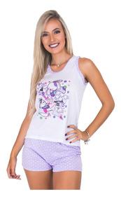 Kit 6 Pijama Curto Feminino Bolinha Atacado Roupa Dormir