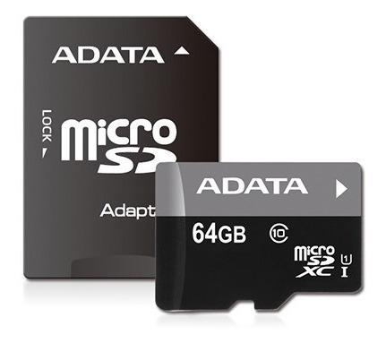 Memoria Micro Sd 64 Gb Clase 10 Premier + Adaptador - Adata