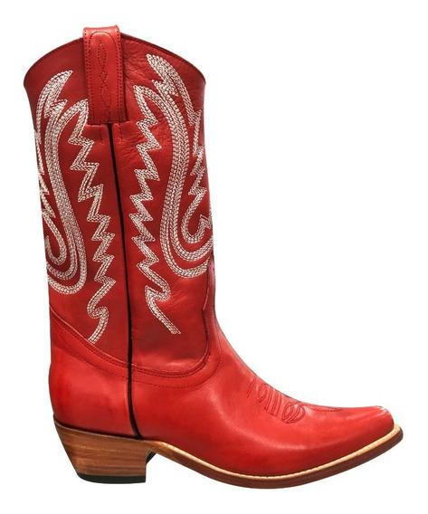 Texana Jr Mujer Original Cuero Bordada Caña Media Rojo