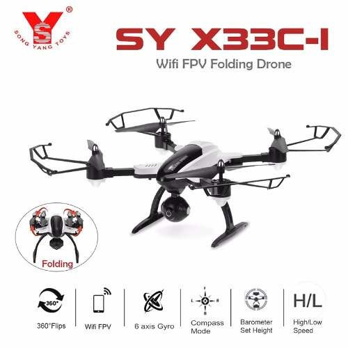 Drone Camera Fpv Wifi Video Celular Ao Vivo Dobravel X33c-1