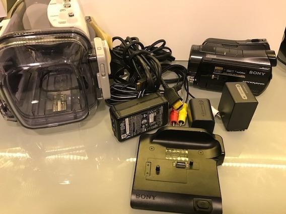 Filmadora Sony Handycam Hdr-sr12 + Caixa Aquática + 1 Bateria Extra + Handycam Station E Controle Remoto