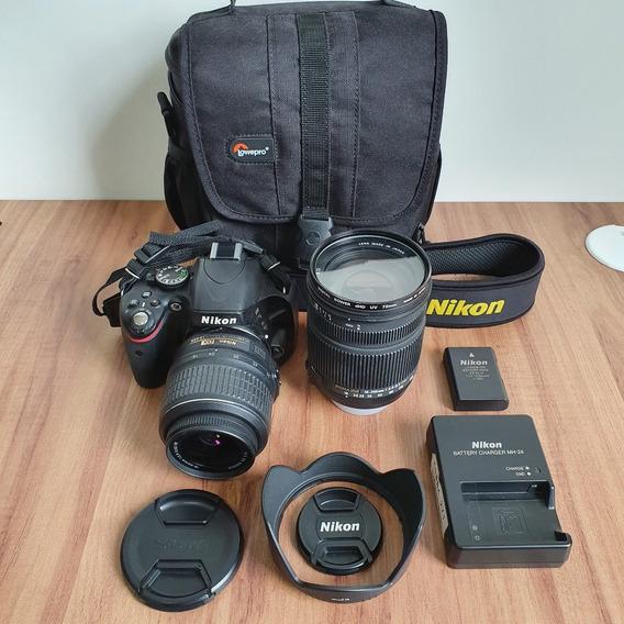 Câmera Nikon D5100 + Lentes Nikon 18-55mm E Sigma 18-250mm