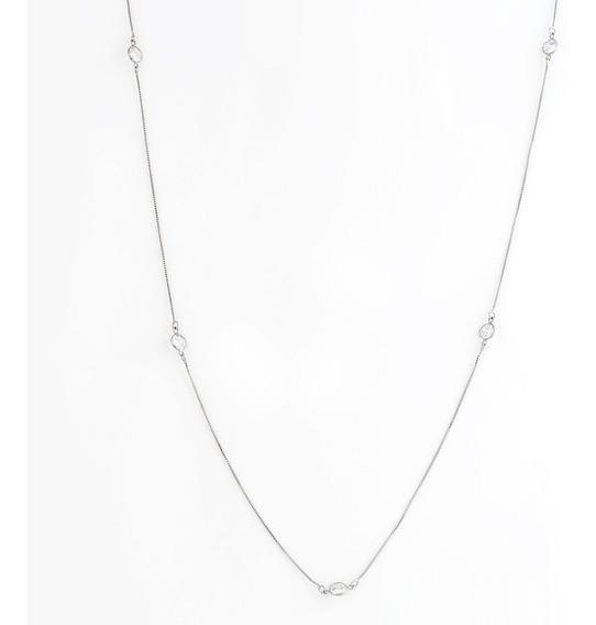 Colar Longo Tiffany Zirconia Banho Ródio Branco Semijoia