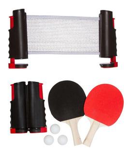 Set De Ping Pong Plegable Red Retractil 3 Pelotas 2 Paletas