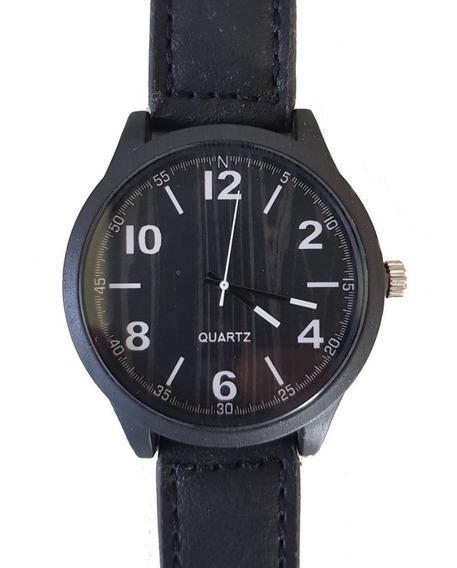Relógio Masculino Amadeirado Preto Com Correia Couro Promo