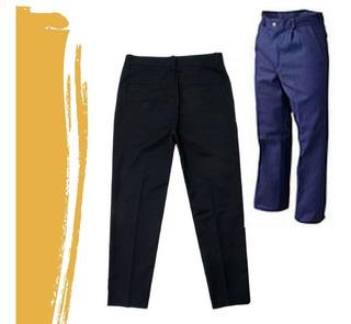 Pantalón De Trabajo Negro/ Azul Gabardina Tipo Grafa 8 Oz .