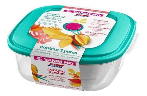 Imagen 1 de 4 de Cajas Combo 3 Potes Cuadrados Plástico Sanremo - Garageimpo