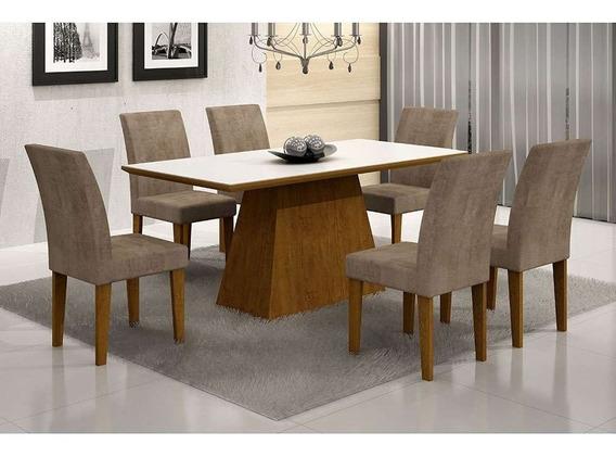 Conjunto De Mesa Luna Ii 180 Cm Com 6 Cadeiras Grécia Ani...