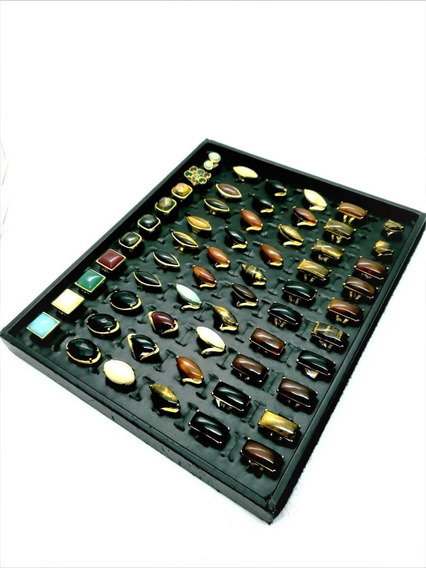 Kit Revenda 50 Anéis Pedra Natural Banhado Ouro Atacado 4704