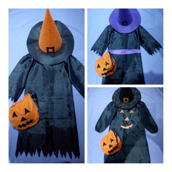 Combo Disfraces Halloween: Vestido+sombrero+bolsita T1 Y T2.
