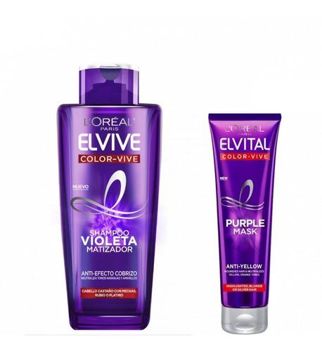 Imagen 1 de 1 de Pack Shampoo + Máscara Violeta Matizador Elvive Loreal Paris