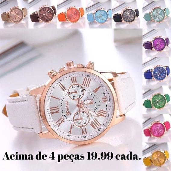 Kit 15 Relógio Feminino Barato Para Revenda Couro Promoção