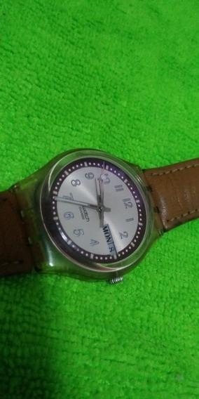 Relógio Swatch Antigo Pulseira De Couro Calendário Duplo