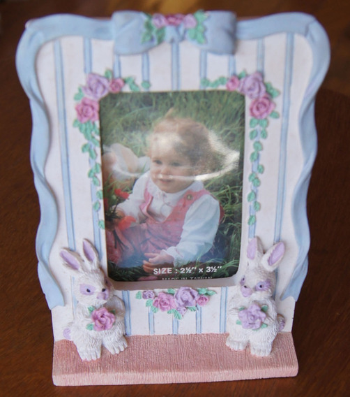 Porta Retrato Infantil Coelho Biscuit 9,5 X 14 Cm