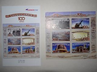 Set Completo De Estampillas, Sellos Chuquicamata , 100 Años
