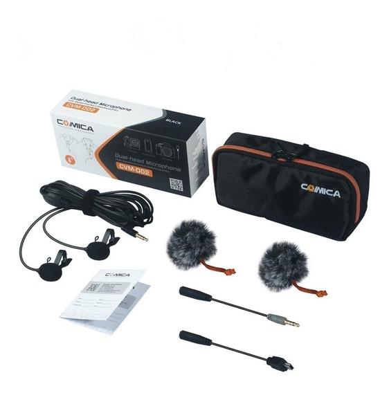 Microfone Lapela Duplo Cvm-d02 Camera Dslr Smartphone Gopro