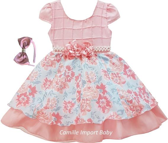 Vestido Princesa Bebe Baby Floral Com Tiara