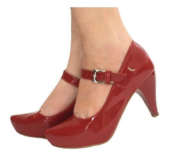 Sapato Vermelho Bordô Boneca Salto Médio Baixo Tira Fivela