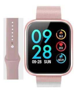 Relógio Smartwatch T80 Ios E Android Pulseira Extra Rose