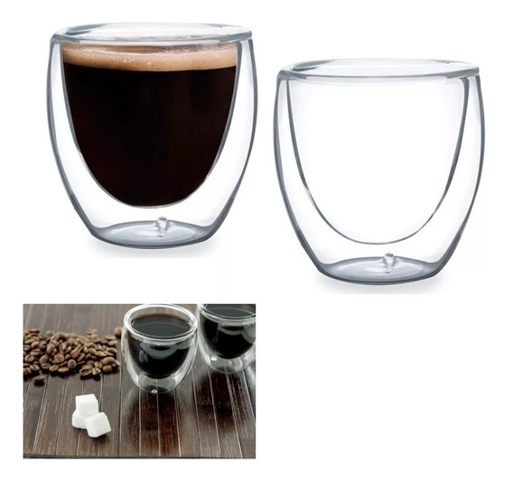 Copo Café Chá Leite 80ml Parede Vidro Duplo Resistente 2 Und