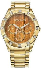 Relógio Technos 6p79an/4m Dourado Olho-de-tigre 12x S Juros
