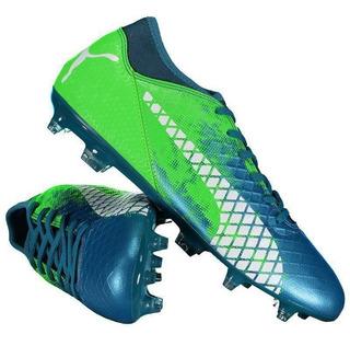Chuteira Puma Future 18.4 Fg Campo Azul E Verde